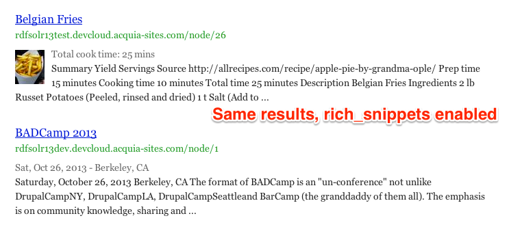 Two snippets from a multisite setup with Rich Snippets and RDF metadata